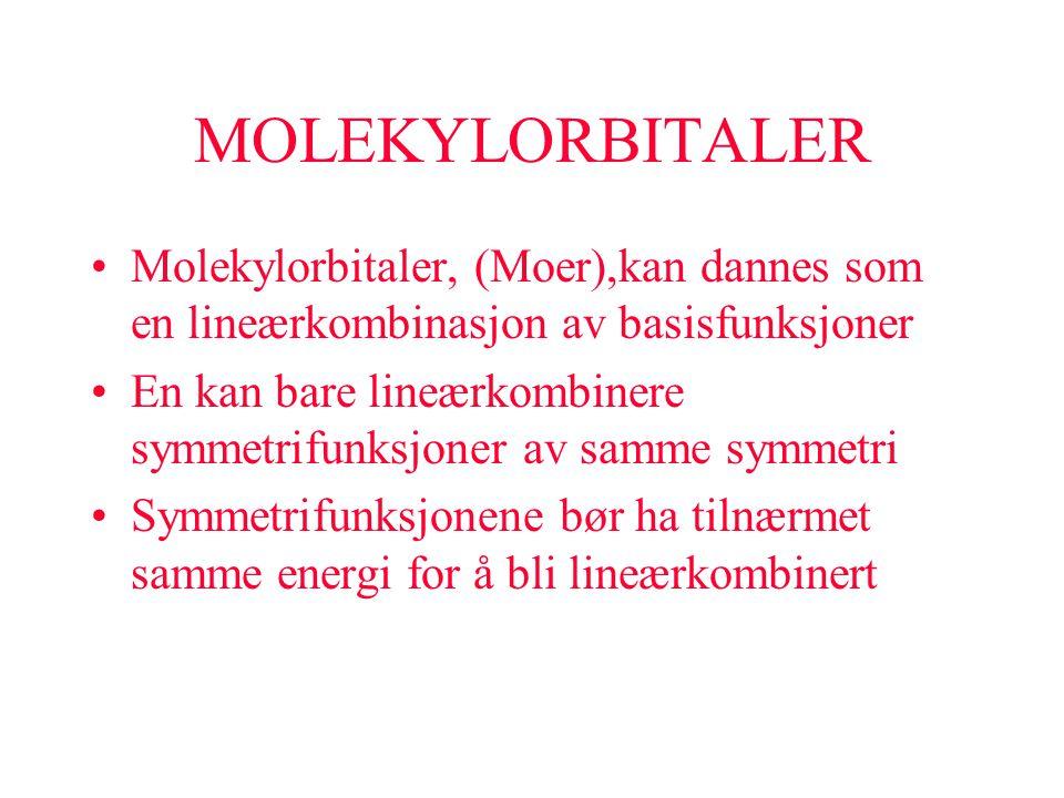 MOLEKYLORBITALER Molekylorbitaler, (Moer),kan dannes som en lineærkombinasjon av basisfunksjoner.