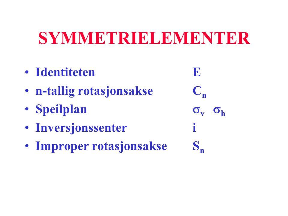 SYMMETRIELEMENTER Identiteten E n-tallig rotasjonsakse Cn