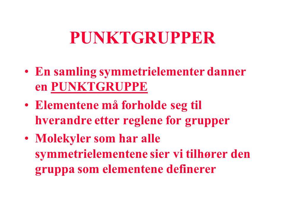 PUNKTGRUPPER En samling symmetrielementer danner en PUNKTGRUPPE