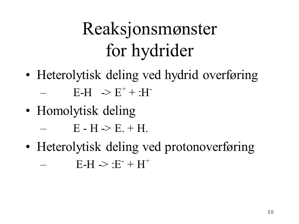 Reaksjonsmønster for hydrider