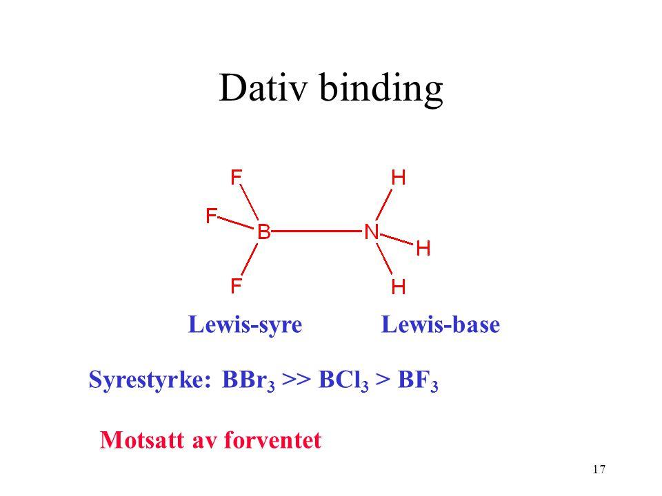 Dativ binding Lewis-syre Lewis-base