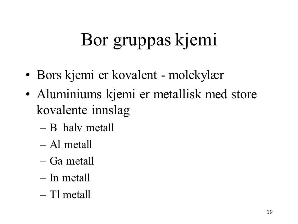 Bor gruppas kjemi Bors kjemi er kovalent - molekylær
