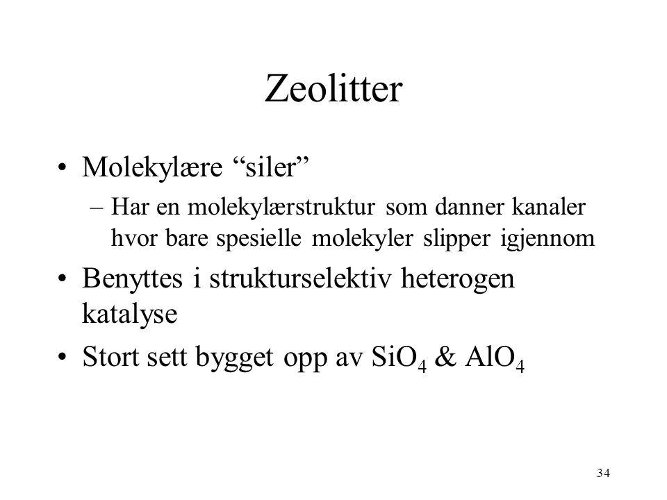 Zeolitter Molekylære siler