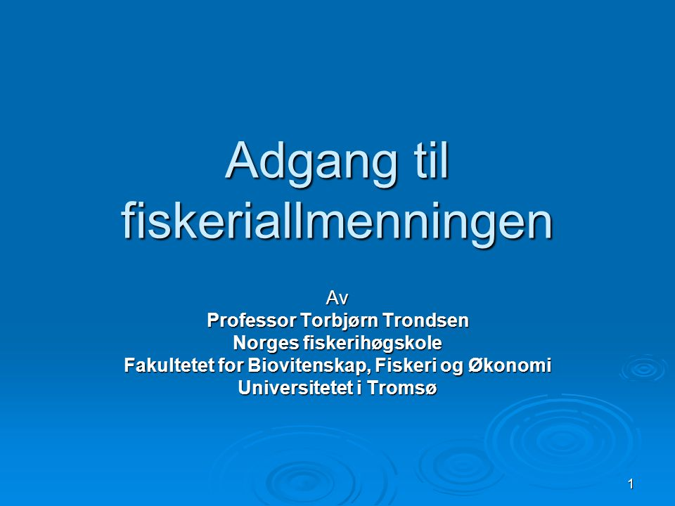 Adgang til fiskeriallmenningen