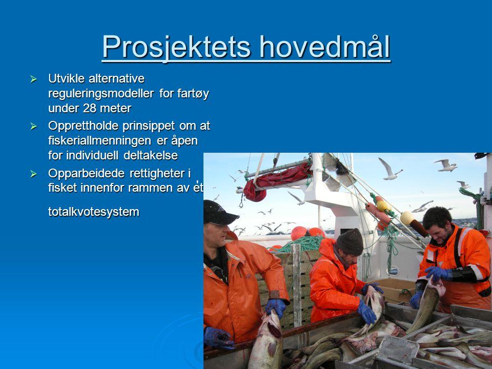 Prosjektets hovedmål Utvikle alternative reguleringsmodeller for fartøy under 28 meter.