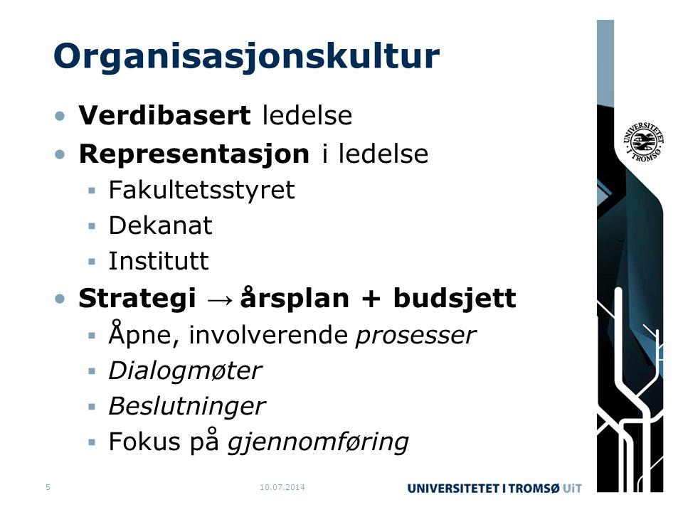 Organisasjonskultur Verdibasert ledelse Representasjon i ledelse