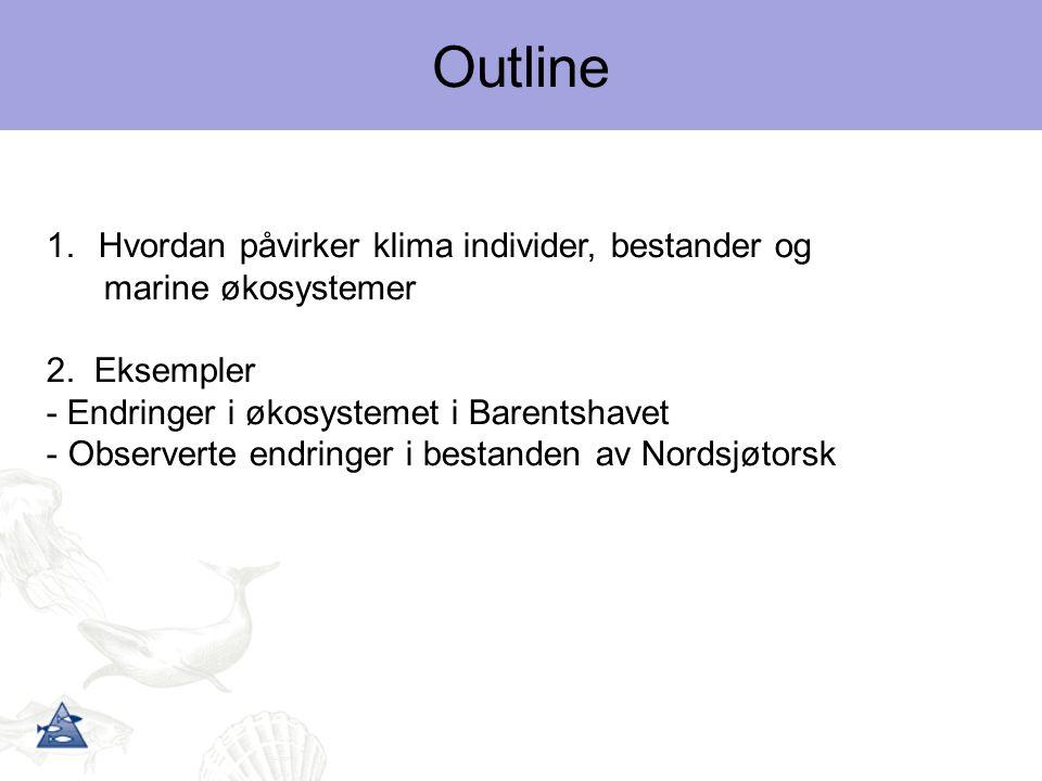 Outline Hvordan påvirker klima individer, bestander og