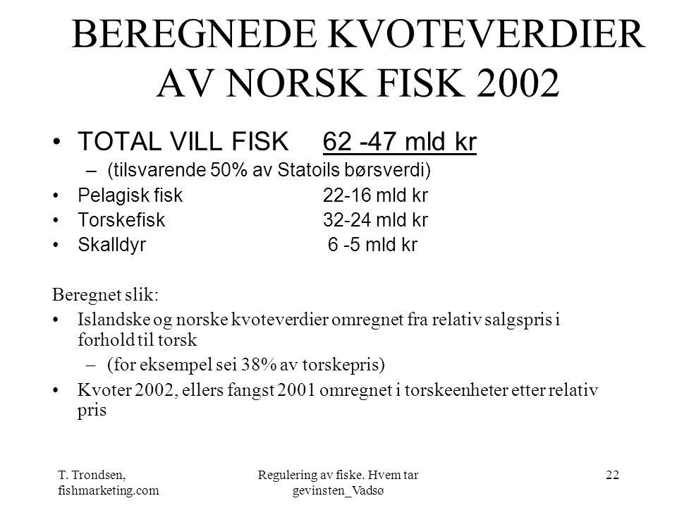BEREGNEDE KVOTEVERDIER AV NORSK FISK 2002