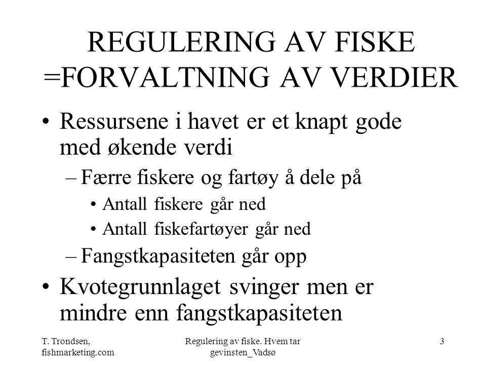 REGULERING AV FISKE =FORVALTNING AV VERDIER
