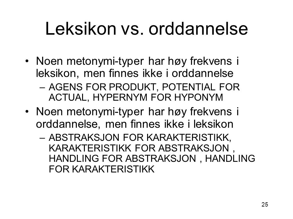 Leksikon vs. orddannelse