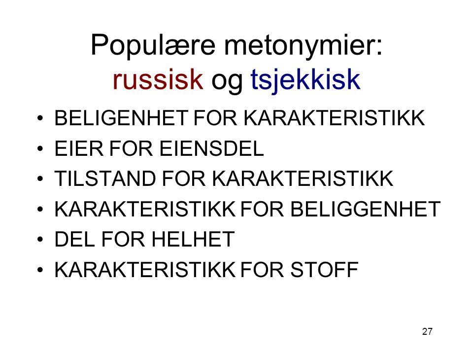 Populære metonymier: russisk og tsjekkisk
