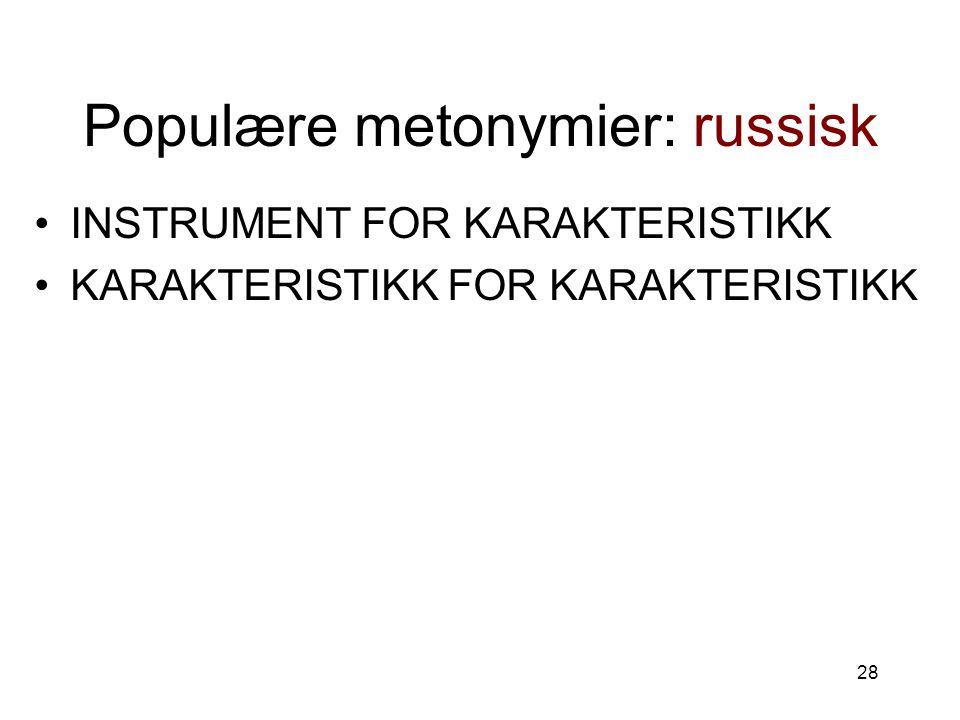 Populære metonymier: russisk