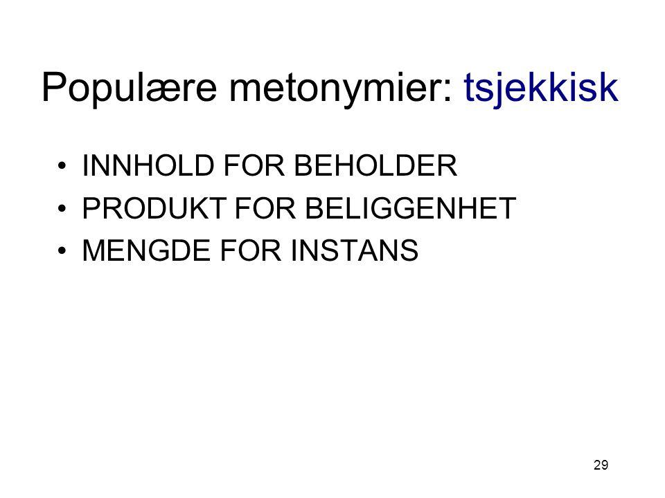 Populære metonymier: tsjekkisk