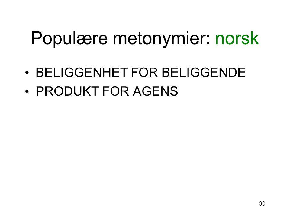 Populære metonymier: norsk