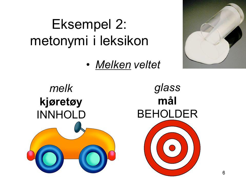 Eksempel 2: metonymi i leksikon