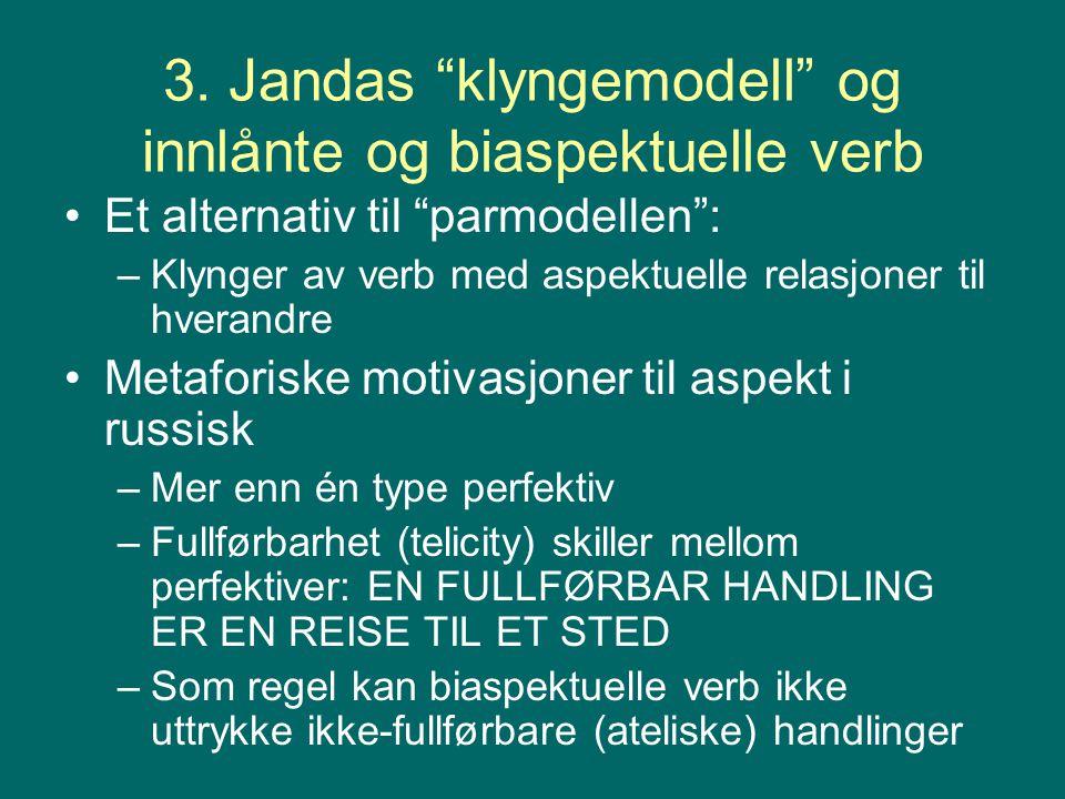 3. Jandas klyngemodell og innlånte og biaspektuelle verb