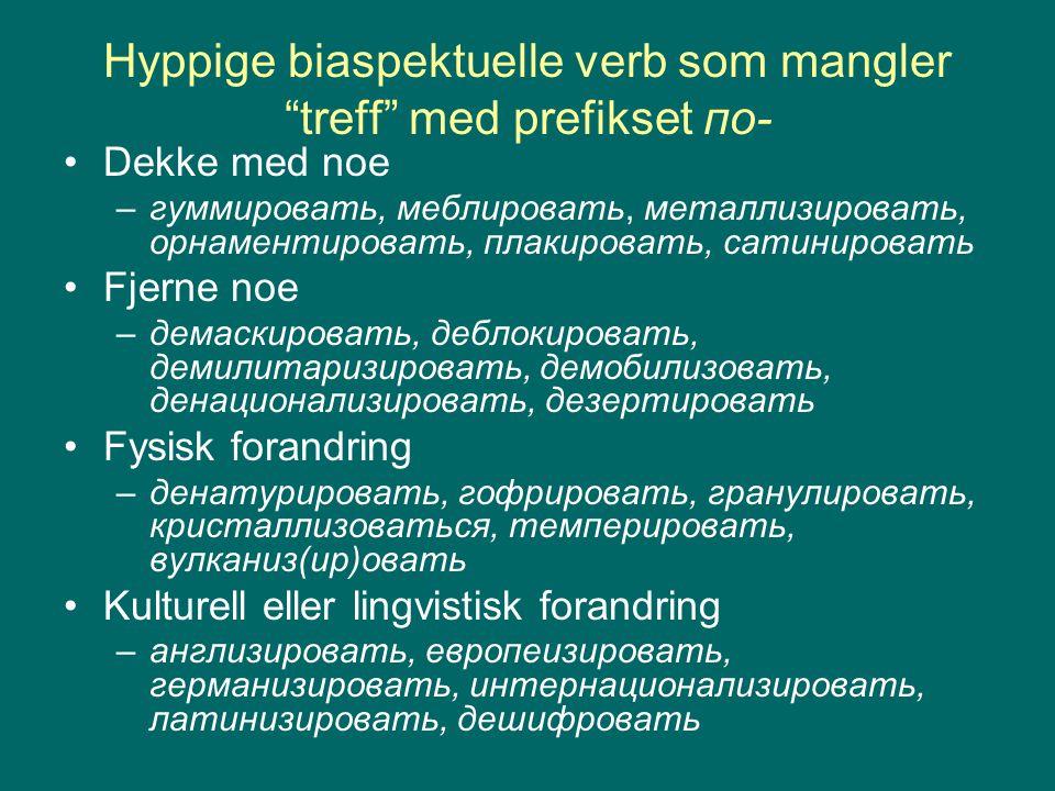 Hyppige biaspektuelle verb som mangler treff med prefikset по-