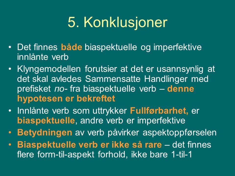 5. Konklusjoner Det finnes både biaspektuelle og imperfektive innlånte verb.