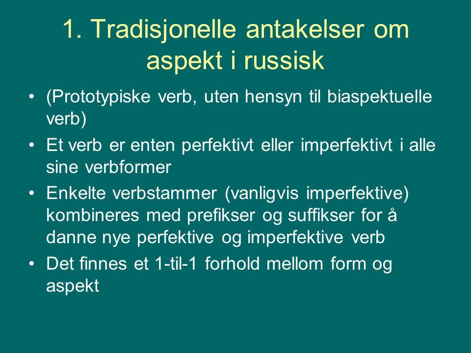 1. Tradisjonelle antakelser om aspekt i russisk