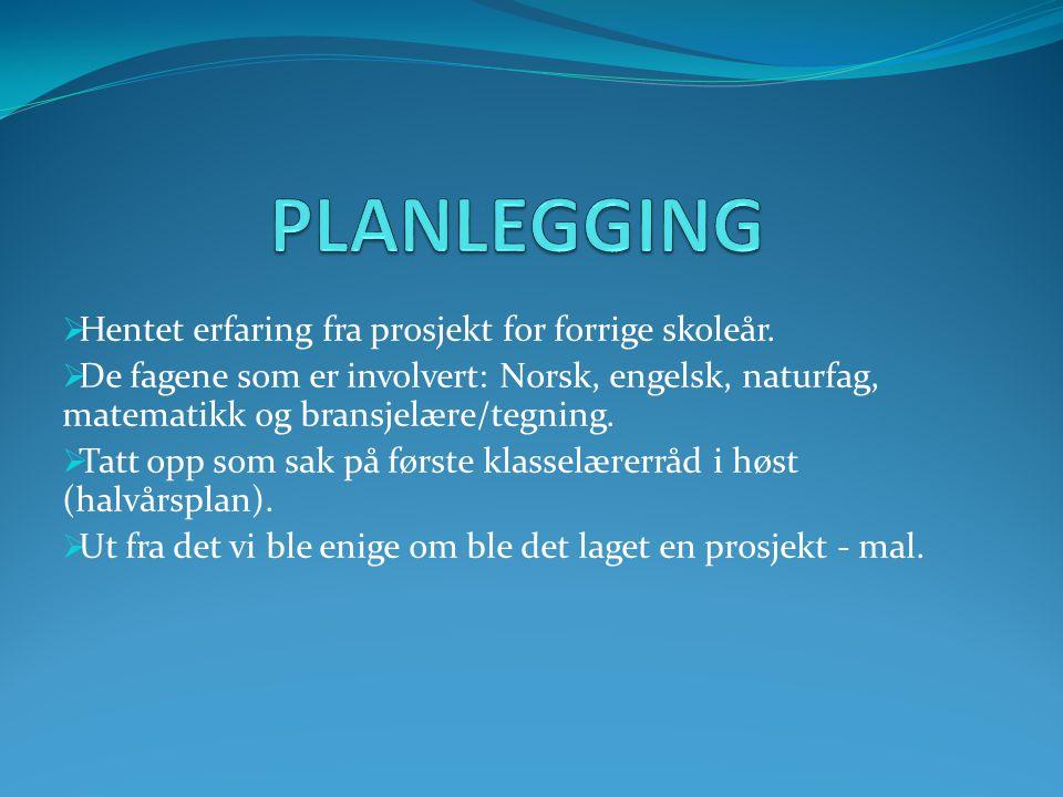 PLANLEGGING Hentet erfaring fra prosjekt for forrige skoleår.