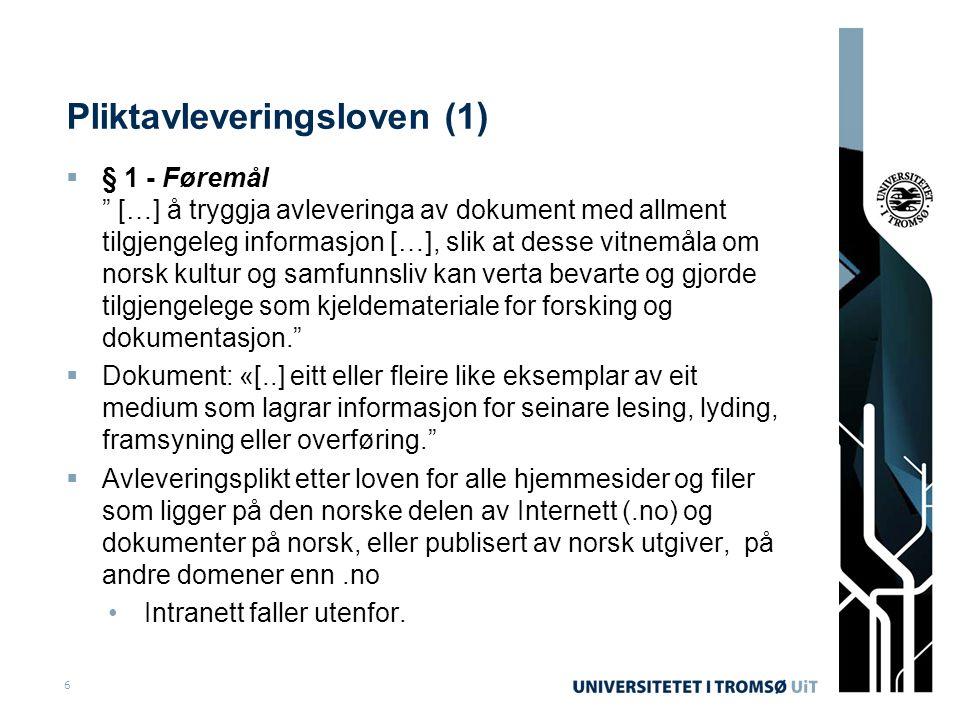 Pliktavleveringsloven (1)
