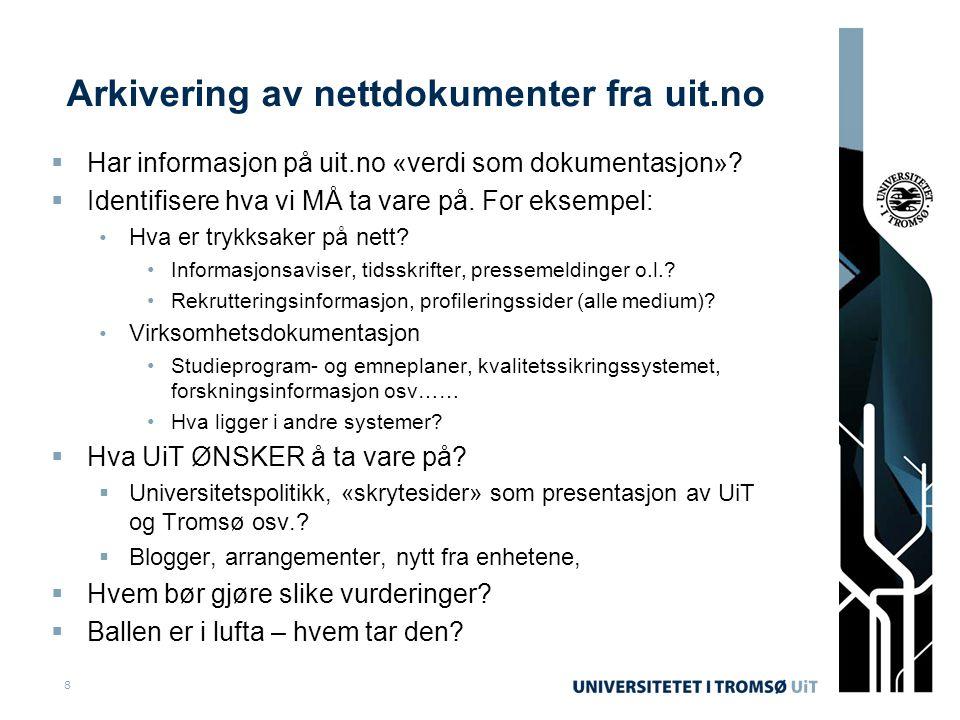 Arkivering av nettdokumenter fra uit.no