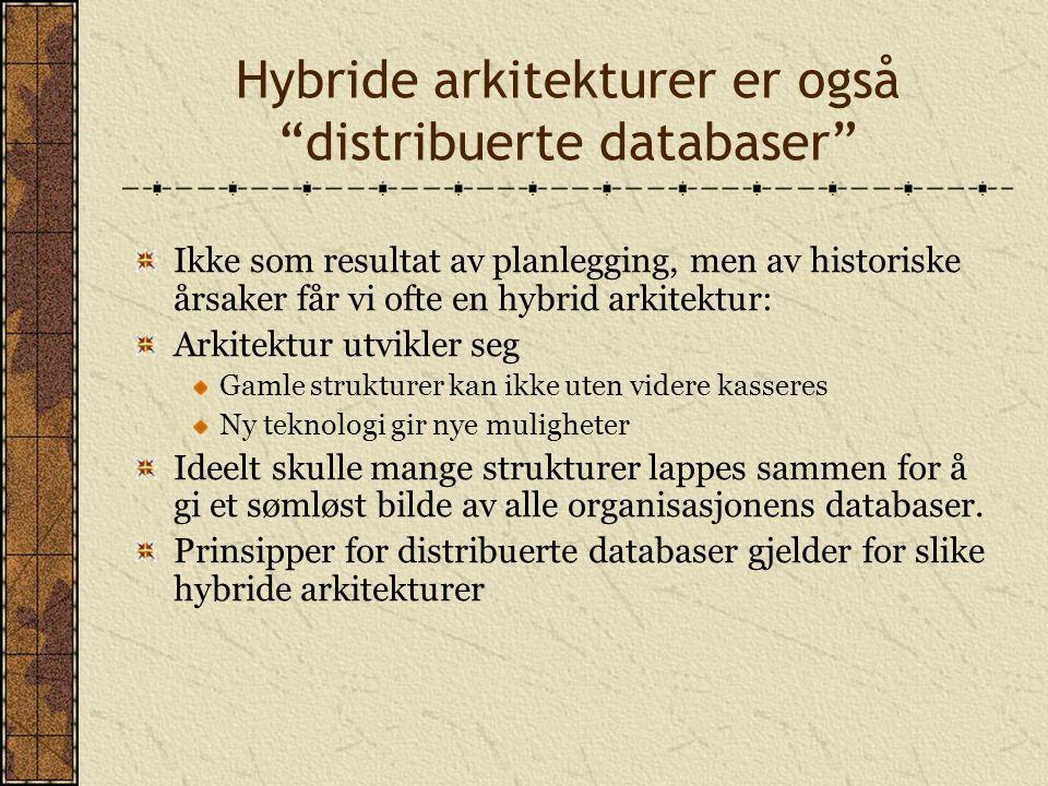 Hybride arkitekturer er også distribuerte databaser