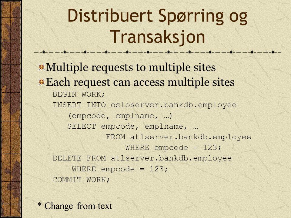 Distribuert Spørring og Transaksjon