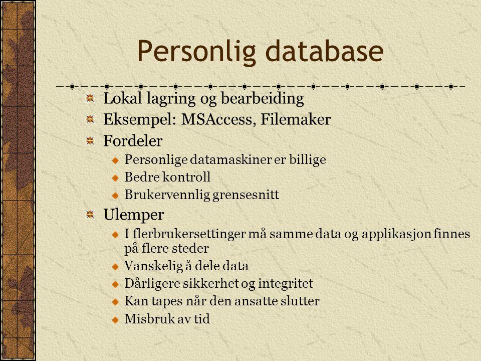 Personlig database Lokal lagring og bearbeiding