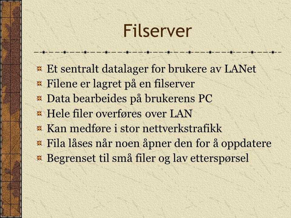 Filserver Et sentralt datalager for brukere av LANet