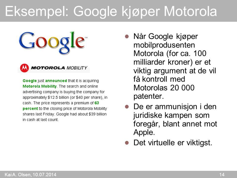 Eksempel: Google kjøper Motorola