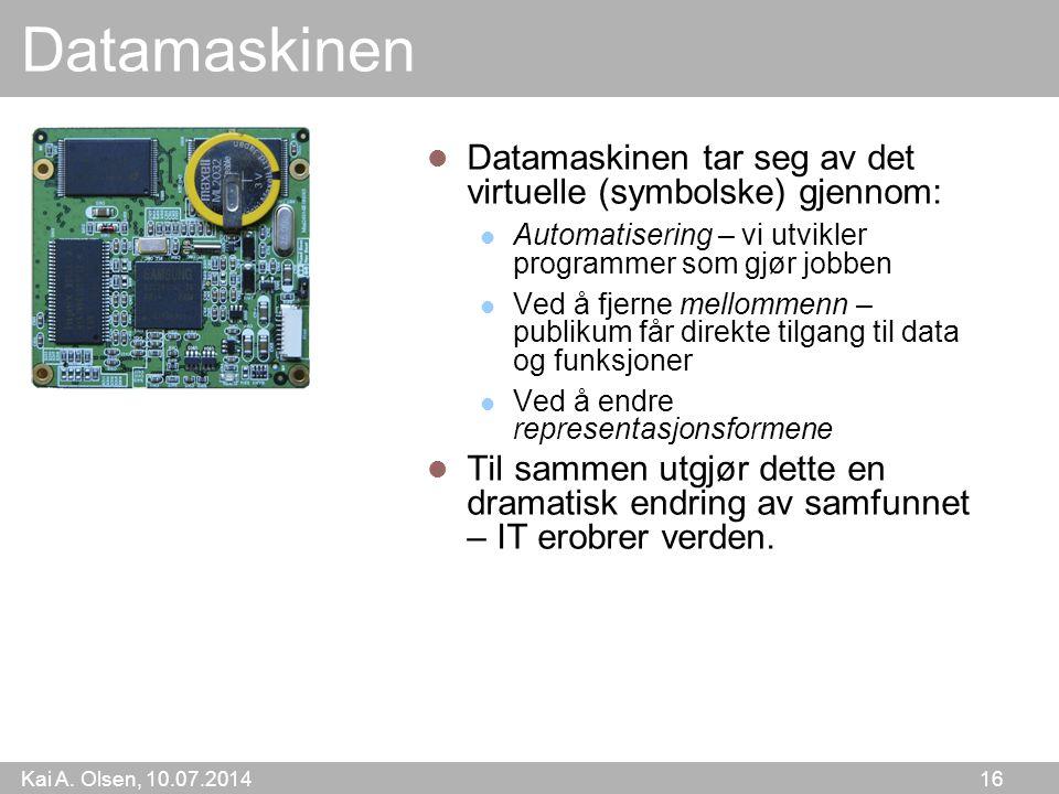 Datamaskinen Datamaskinen tar seg av det virtuelle (symbolske) gjennom: Automatisering – vi utvikler programmer som gjør jobben.