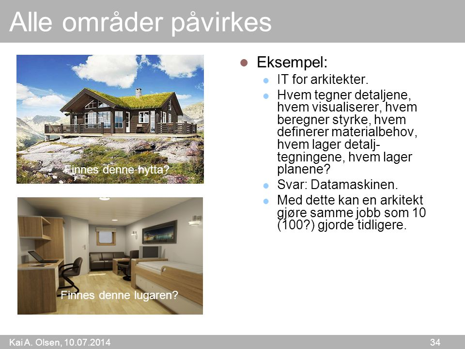 Alle områder påvirkes Eksempel: IT for arkitekter.