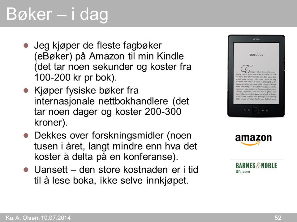 Bøker – i dag Jeg kjøper de fleste fagbøker (eBøker) på Amazon til min Kindle (det tar noen sekunder og koster fra 100-200 kr pr bok).
