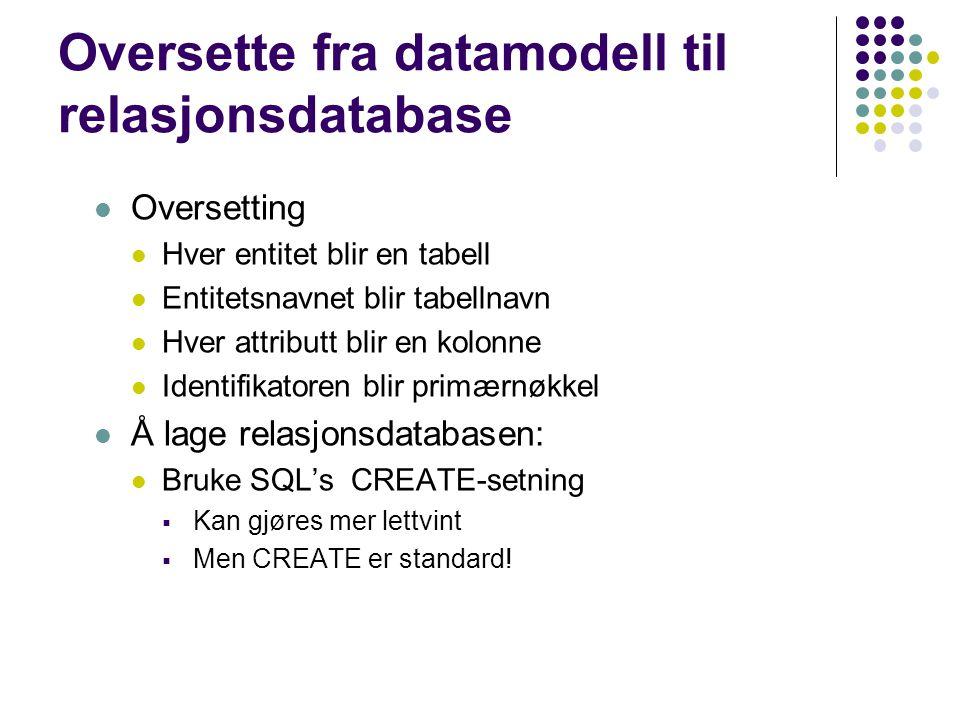 Oversette fra datamodell til relasjonsdatabase