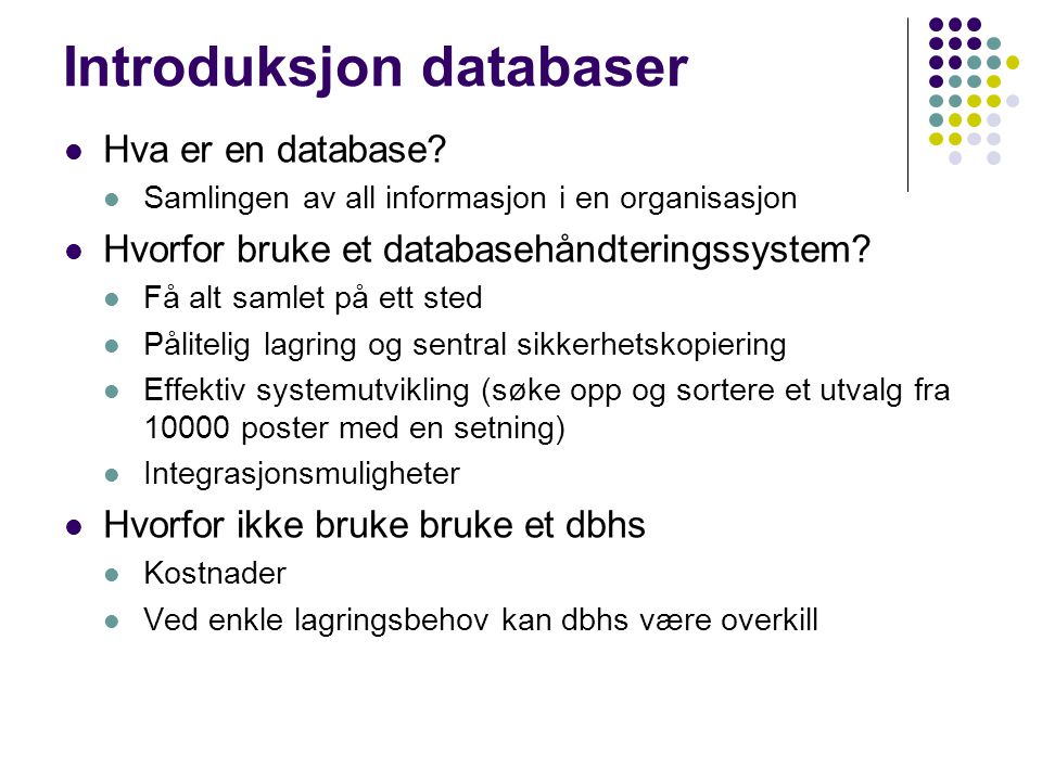 Introduksjon databaser