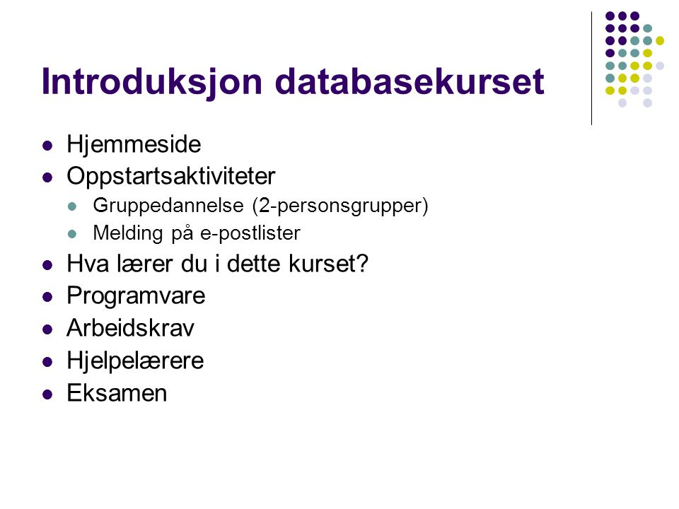 Introduksjon databasekurset