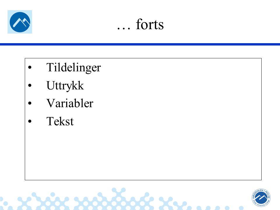 … forts Tildelinger Uttrykk Variabler Tekst