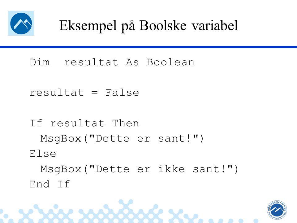 Eksempel på Boolske variabel