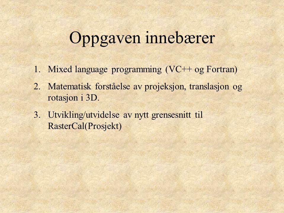 Oppgaven innebærer Mixed language programming (VC++ og Fortran)