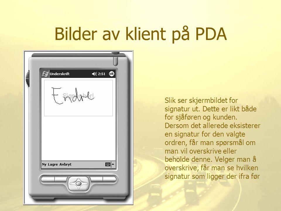 Bilder av klient på PDA