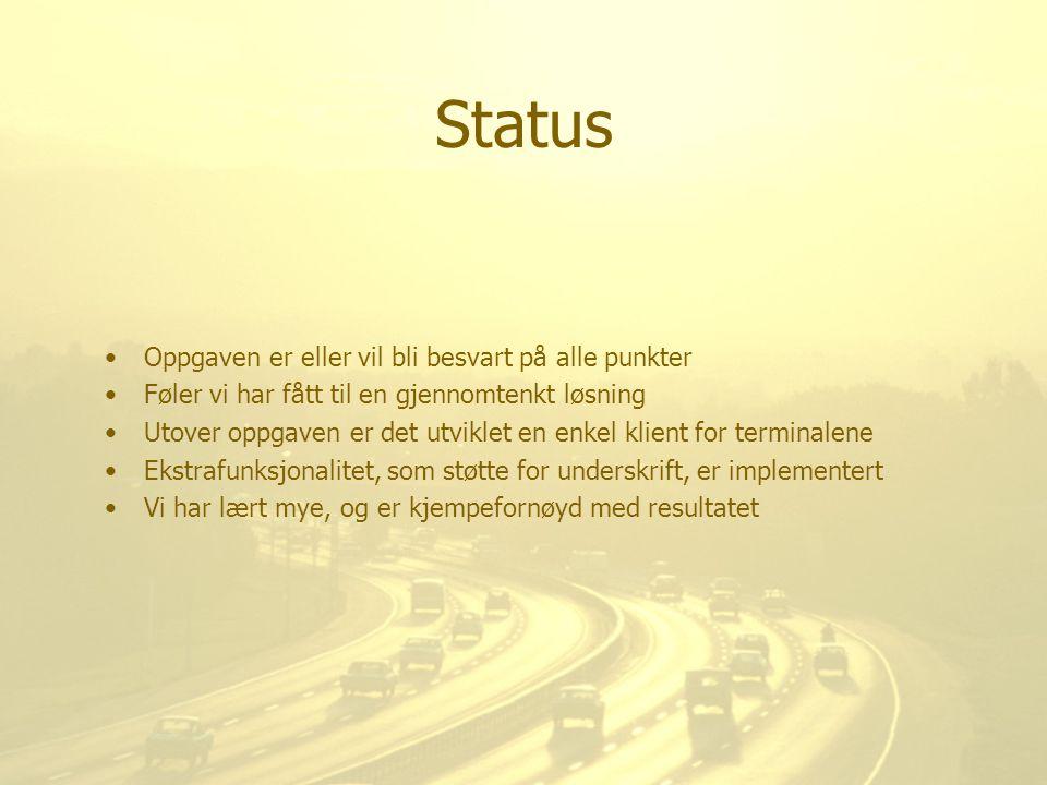 Status Oppgaven er eller vil bli besvart på alle punkter