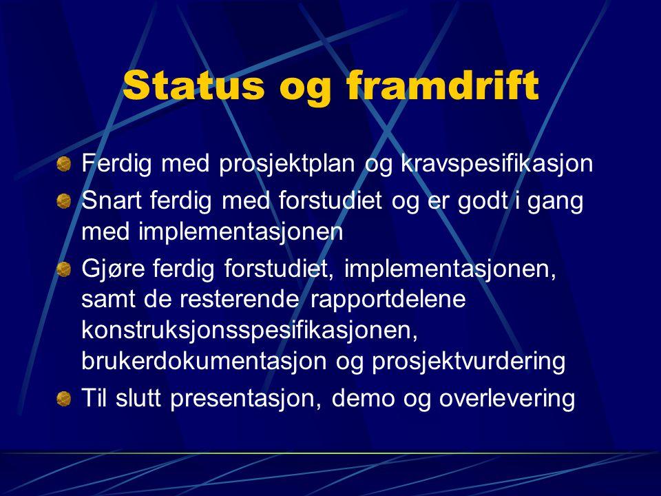 Status og framdrift Ferdig med prosjektplan og kravspesifikasjon