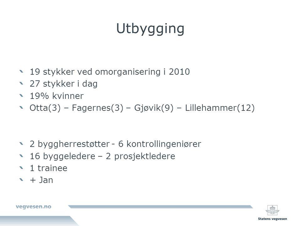 Utbygging 19 stykker ved omorganisering i 2010 27 stykker i dag