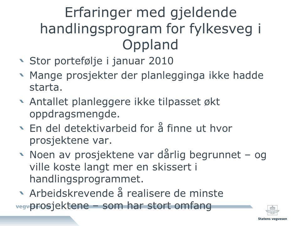 Erfaringer med gjeldende handlingsprogram for fylkesveg i Oppland