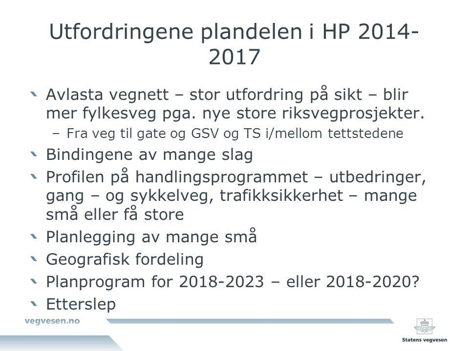 Utfordringene plandelen i HP 2014-2017
