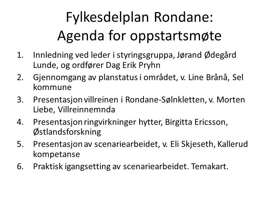 Fylkesdelplan Rondane: Agenda for oppstartsmøte