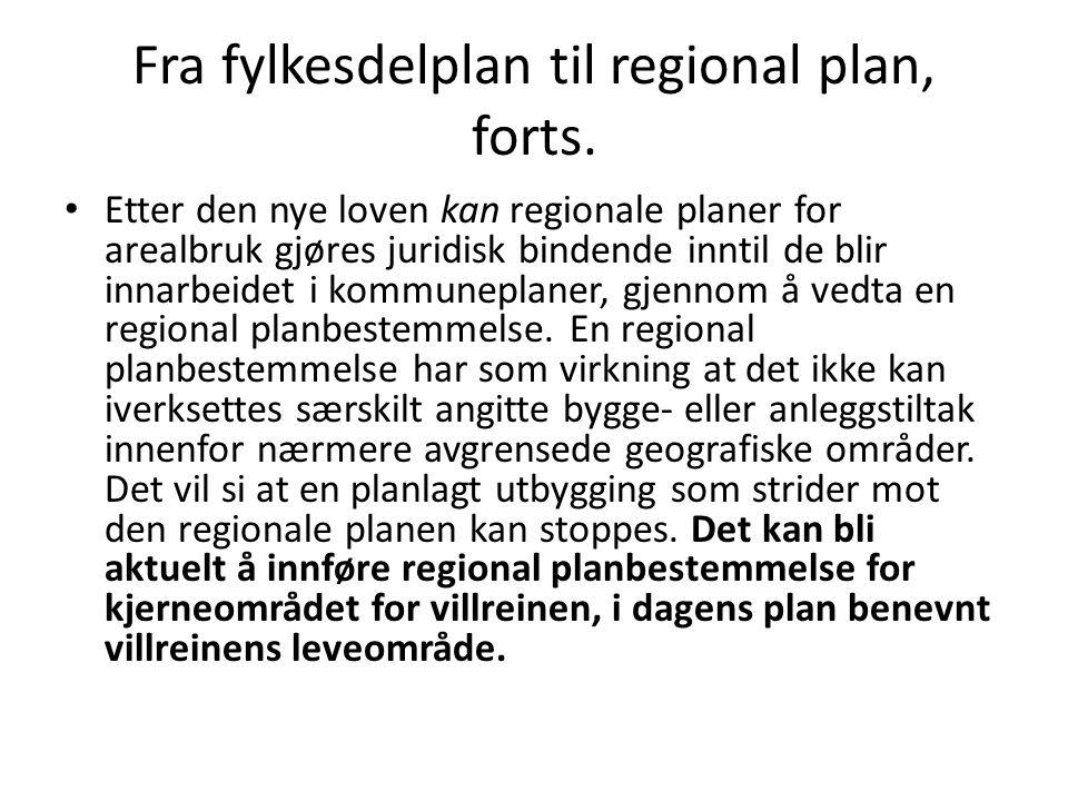 Fra fylkesdelplan til regional plan, forts.