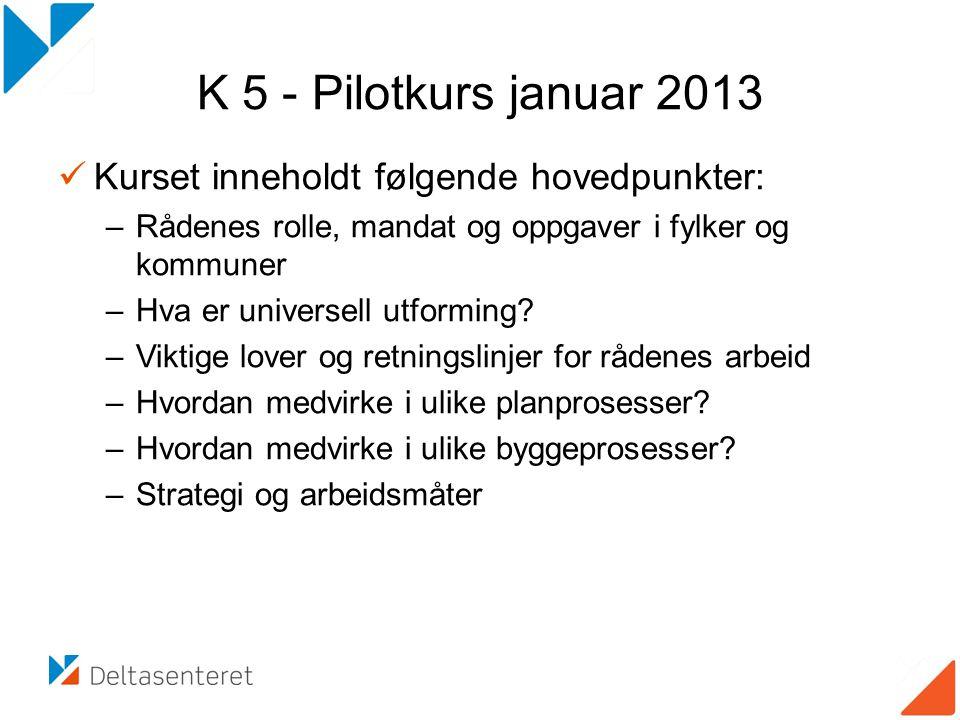K 5 - Pilotkurs januar 2013 Kurset inneholdt følgende hovedpunkter: