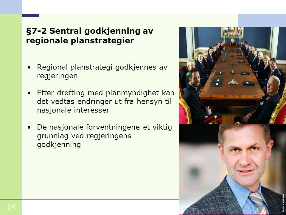 §7-2 Sentral godkjenning av regionale planstrategier